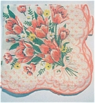 Finely Woven Coral Tulips Hanky