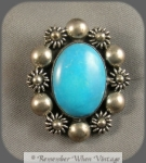 Mexican Sterling And Turquoise Brooch