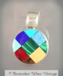Checkerboard Inlay Mexican Sterling And Stone Pendant