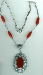 Art Nouveau/deco Style Silver & Carnelian Necklace