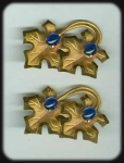 Vintage Pair Of Leaf Brooches With Blue Stones