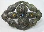Victorian Dragons Large Brooch With Fine Engraving