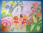 Dansers In The Garden - Original Nude Fantasy Drawing