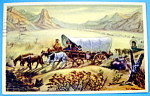 Postcard Of Covered Wagon Diorama, Ghost Town