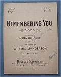 Sheet Music For 1933 Remembering You