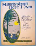 Mississippi Here I Am Sheet Music 1928 Grossman