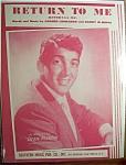 Sheet Music For 1957 Return To Me (Ritornaa Me)