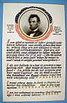 Lincoln's Rights Of Labor Postcard