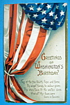 Washington's Birthday Greetings Postcard (Draped Flag)