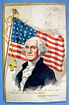 George Washington Postcard With American Flag