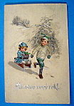 Stastny Novy Rok Postcard With Two Kids Sledding