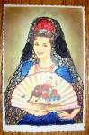 Spanish Woman Holding A Fan Postcard-fabric Overlay