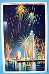 1933 Century Of Progress, Fireworks Display Postcard
