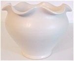 Camark Pottery Wheel Thrown White Ruffled Rim Vase