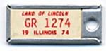 Key Chain: Vintage Miniature License Plate 1974
