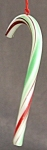 Red, White & Green Glass Candy Cane Ornament