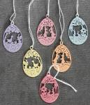Mini Metal Eggs With Cut-out Designs Set Of 6