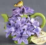 Vintage Mini Hyacinth Floral Teapot