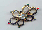 Signed Rhinestone Pin Brooch