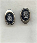 Sarah Coventy Silver / Tone Black Cameo Earrings