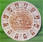 1986 Brown Calendar Plate With Zodiac Signs
