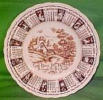 1961 Brown Calendar Plate Meakin Zodiac Crazing