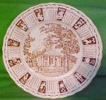 1965 Brown Calendar Plate Meakin Zodiac Crazing