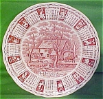 1986 Red Calendar Plate Meakin Zodiac Scalloped