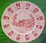 1962 Red Calendar Plate Meakin Zodiac Crazing