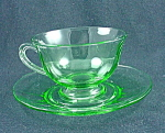 Fostoria Fairfax Footed Cup & Saucer - Green