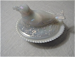 Boyds Iridized Covered Bird With Cherry Dish
