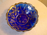 Cobalt Blue Glass Bowl With Silver Overlay