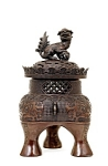 Lg Meiji Japanese Bronze Shishi Fu Dog Censer