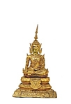 Lg 19c Thai Burmese Gilt Bronze Seated Buddha