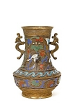 Old Japanese Champleve Enamel Bronze Vase