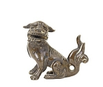 18c Chinese Bronze Seated Foo Fu Dog Lion
