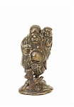 19c Japanese Bronze Hotei Hold Boy Figurine
