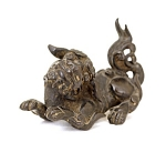 18c Chinese Bronze Dancing Fu Dog Lion