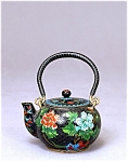 Old Chinese Goldstone Cloisonne Teapot W Flower
