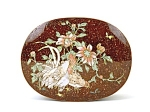 19c Japanese Cloisonne Goldstone Chicken Group Box