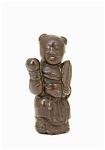 19c Japanese Bronze Boy Holding Fan Figurine