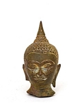 19c Thai Tibetan Bronze Buddha Head