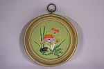 Framed Mushroom & Frog Needlepoint Picture