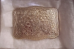Gold Plated Engraved Floral Belt Buckle