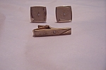 Vintage Gold Plated Cuff Links & Tie Clasp