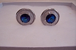 Silver Matte & Blue Stone Cuff Links