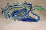 Handblown Art Glass Blue, White & Aqua Glass Swan Bowl