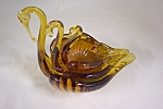 Handblown Art Glass Amber Nesting Swan Dishes
