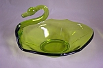 Vintage Handblown Lime Green Art Glass Swan Bowl