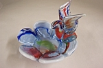 Murano Cased Art Glass Bird & Bowl